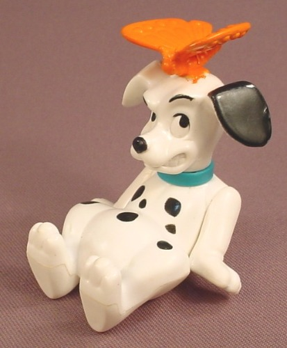 McDonalds 101 Dalmatians Dog With An Orange Butterfly On It's Head, The Head Swivels, 102