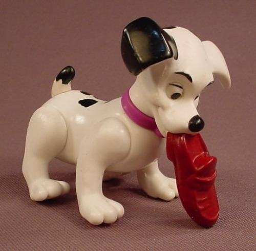 McDonalds 101 Dalmatians Dog With A Purple Brown Slipper In It's Mouth, The Head Swivels, 102
