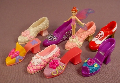 Lot Of 8 Shoe Fairies Shoes & 1 Fairy Figure, The Fairy Fits Into The Holes In The Shoes