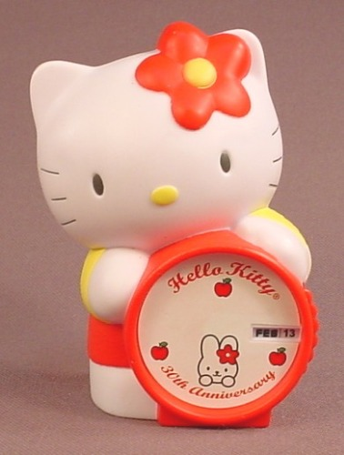 Hello Kitty With A 30th Anniversary Clock, 2004 McDonalds, 3 1/2 Inches Tall