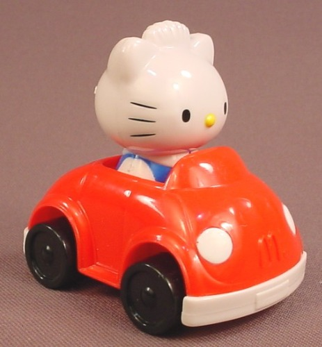 Hello Kitty Stamp Mobile Car, 2000 McDonalds, 2 5/8 Inches Long, Has A  Rolling Stamp In The Bottom
