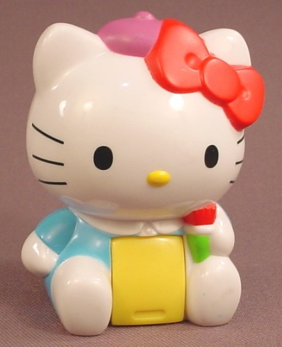 Hello Kitty Sticker Dispenser Figure Toy, 2000, McDonalds, 3 Inches Tall, Has Some Stickers