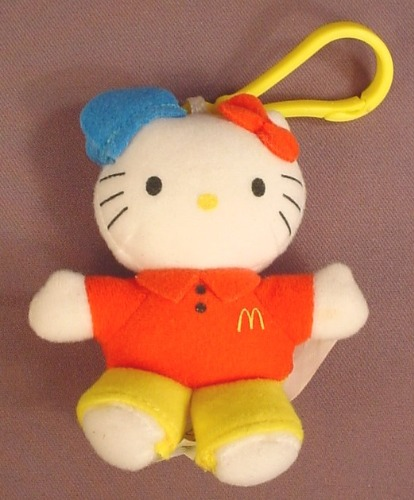 Hello Kitty Plush Or Cloth McDonalds Server Employee Doll, 4 1/4 Inches Tall, Has A Clip