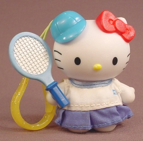 Hello Kitty Tennis Player Figure Toy, McDonalds, 3 Inches Tall, Has A Clip Or Keychain Loop
