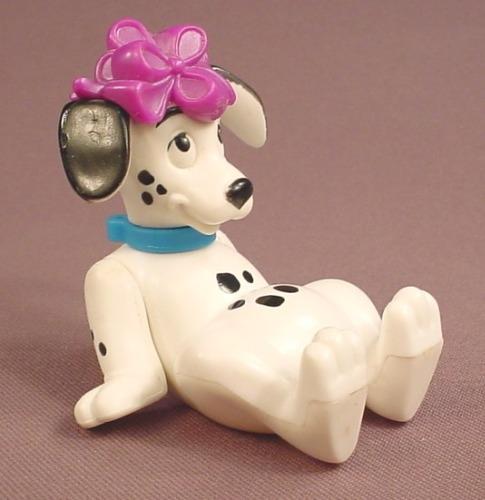 McDonalds 101 Dalmatians Dog With A Purple Gift Ribbon On It's Head, The Head Swivels, 102
