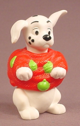 McDonalds 101 Dalmatians Dog With Red & Green Christmas Wrap, The Head & Waist Swivel, 102