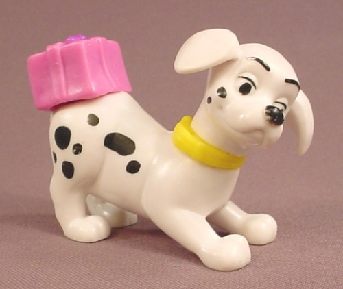 McDonalds 101 Dalmatians Dog With A Pink Gift Box On It's Rump, The Head Swivels, 102