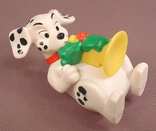McDonalds 101 Dalmatians Dog Laying On His Back & Holding A Yellow Horn, The Head Swivels, 102