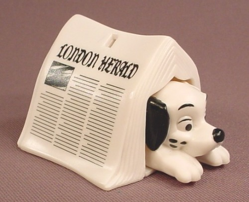 McDonalds 101 Dalmatians Dog Hiding Under A Newspaper, Push From The Back To Make Him Pop Out, 102