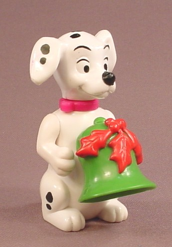 McDonalds 101 Dalmatians Dog Holding A Green Bell With Red Leaves, The Head Swivels, 102
