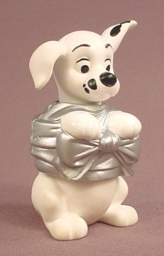 McDonalds 101 Dalmatians Dog With Silver Gift Wrapping Around It's Waist, The Head & Waist Swivel