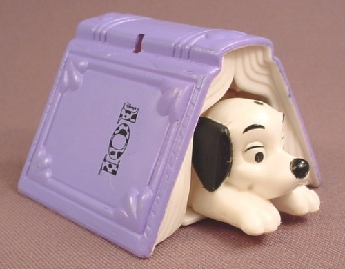 McDonalds 101 Dalmatians Dog Hiding Under A Book, Push From The Back To Make Him Pop Out, 102