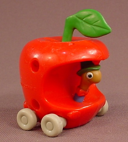 Richard Scarry Busytown Lowly Worm In An Apple Car, 2 1/2 Inches Tall, 1994 McDonalds, Busy Town