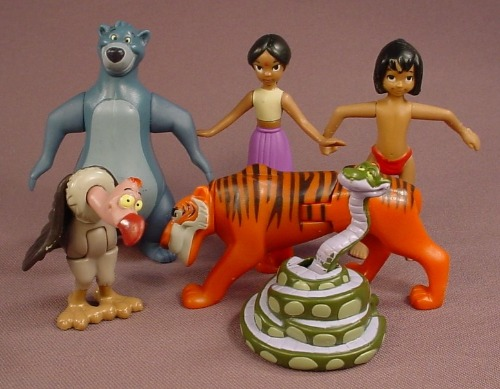 Disney The Jungle Book Set Of 6 Figures, 2003 McDonalds, Baloo Shanti Mowgli Kaa Sherekhan & Vulture