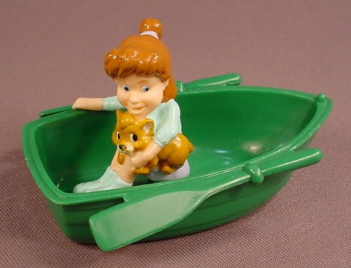 Disney Oliver & Company Jenny & Oliver PVC Figure In A Rowboat, 3 7/8 Inches Long, 1996 Burger King