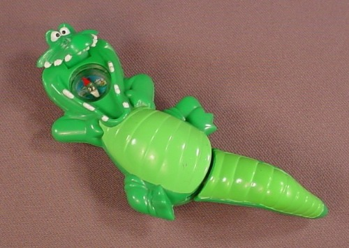 Disney Peter Pan Tic Toc Croc Toy With A Compass In The Mouth, 4 3/4 Inches Long, 2007 McDonalds