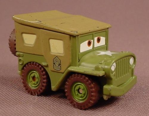 Disney Pixar Cars Movie Mini Adventures Boot Camp Sarge Jeep, 1 5/8 Inches Long, #M1897, 2008 Mattel