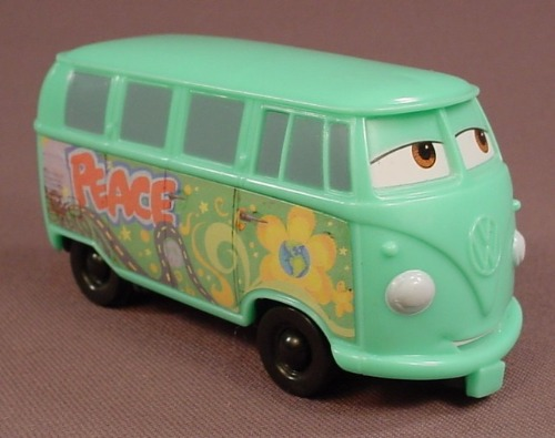 Disney Pixar Cars Movie Fillmore Van VW Bus With Eyes To The Left, 3 3/4 Inches Long, McDonalds