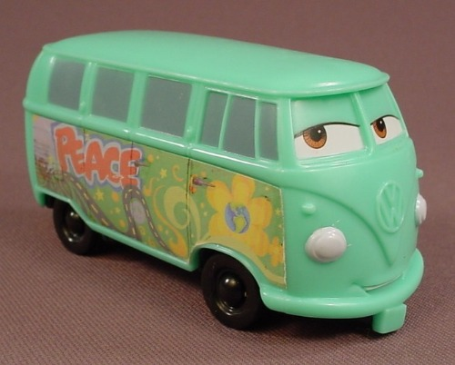 Disney Pixar Cars Movie Fillmore Van VW Bus With Eyes To The Right, 3 3/4 Inches Long, McDonalds