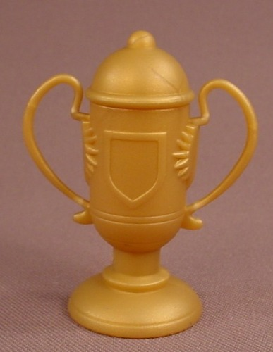 Barbie Doll Size Gold Trophy Loving Cup With A Lid That Opens, 2 3/8 Inches Tall, Accessory