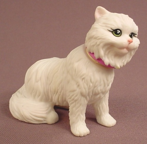 Barbie Bobble Head White Persian Cat Figure, 2 7/8 Inches Tall, From Set #67388, 2002 Mattel