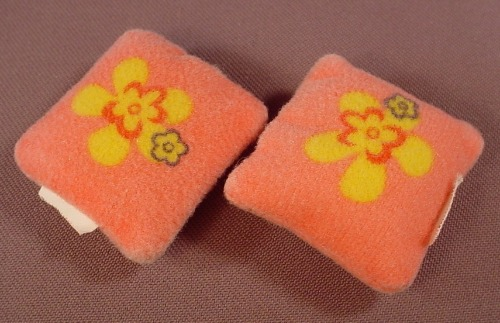 Barbie Pair Of Small Pink Pillows With A Flower Pattern
