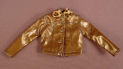 Barbie 1997 Fashion Avenue Gold Faux Leather Jacket With A Leopard Print Collar, Mattel