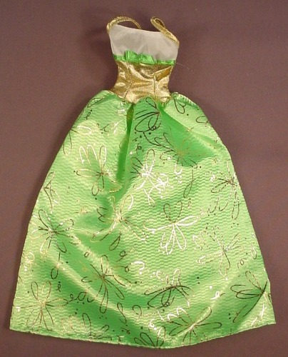Barbie Bright Green Dress With A Gold Print, Gold Waist & Straps, White Top, Has The Pink B Tag