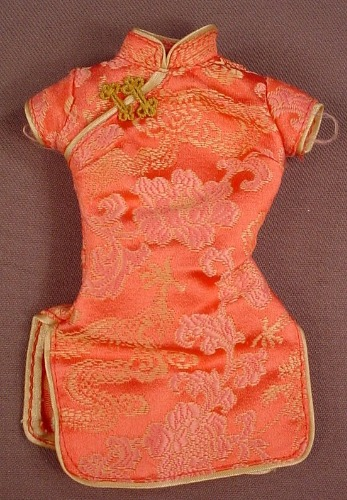 Barbie Chinese Cheongsam Or Qipao Dress, Mattel, Has The Pink B Tag, There Is Loose Stitching