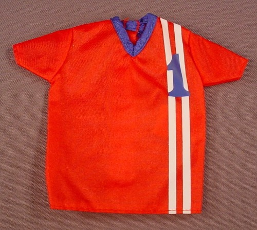 Barbie 2000 Red Soccer Jersey #1, From Set #68312-83 Totally Sports Fashions, Has The Pink B Tag