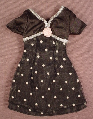 Barbie Black Dress With Pink Polka Dots, Silver Trim With A Pink Rose, Mattel, Has The Pink B Tag