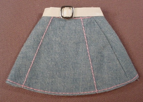 Barbie Denim A-Line Skirt Or Dress With A White Belt & Silver Buckle, Mattel, Has The Pink B Tag