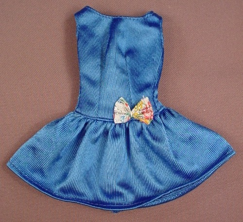 Barbie Blue Short Dress With A Flared Bottom, Has A Bow On The Waist, Mattel, Has The Pink B Tag