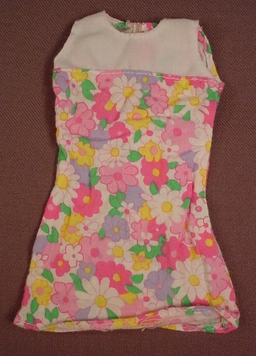 Barbie Pink Floral Dress With A White Top, Mattel, Has The Pink B Tag