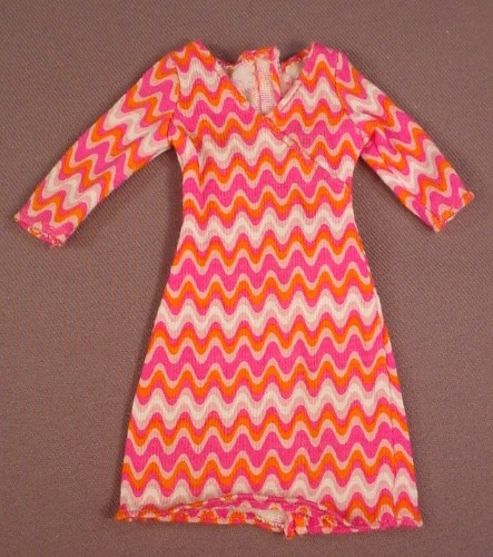 Barbie Long Sleeved Dress With A Purple & White Zig Zag In The Print, Mattel, Has The Pink B Tag