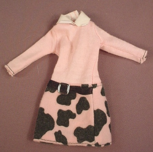 Barbie Pink Long Sleeved Dress With A Black Splotch Print & A Black Belt, Mattel, Has The Pink B Tag