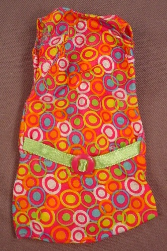Barbie Multi Colored Dress With A Circles Pattern & A Green Belt, Mattel, Has The Pink B Tag