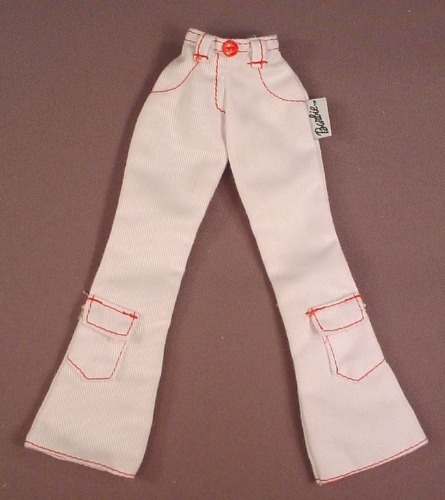 Barbie Model Muse White Denim Pants With Red Stitching, Small Waist, Mattel, Black & White Tag
