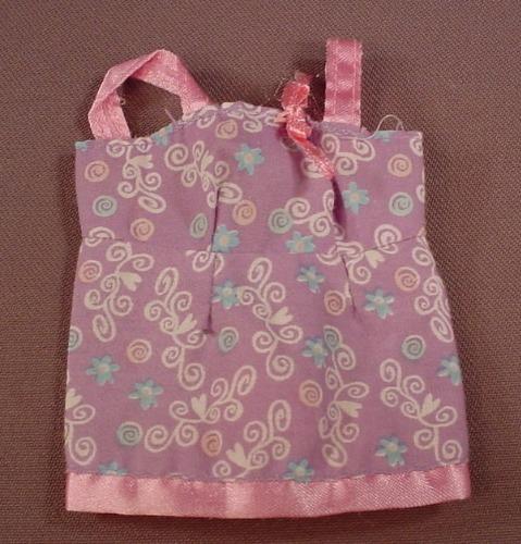 Barbie Light Purple Top With Pink Trim & Straps, Swirls & Flowers Print, Mattel, Has The Pink B Tag