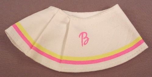 Barbie White Skirt With A Pink B & Pleats In The Front, Pink & Yellow Trim, Mattel