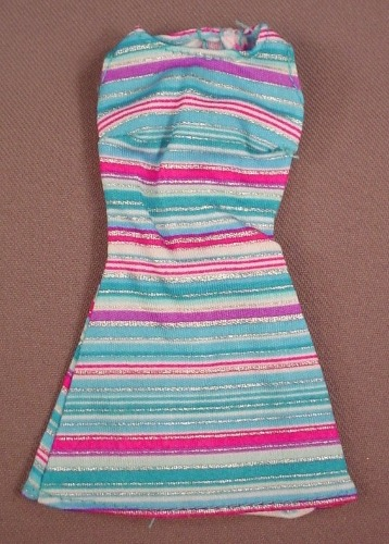 Barbie Sun Dress With Blue Pink Silver & White Stripes, Mattel, Has The Pink B Tag