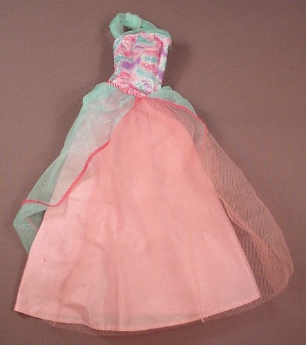 Barbie Pink & Blue Sleeveless Halter Gown Or Dress With A Sheer Over Shirt, Mattel, Has Pink B Tag