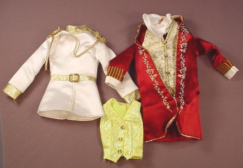 Barbie Ken Lot Of 3 Fancy Clothes Items, White Band Leader Jacket, Purple Prince Coat