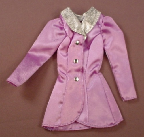 Barbie Lilac Purple Coat Or Jacket With A Silver Collar & Buttons, Mattel, Has The Pink B Tag