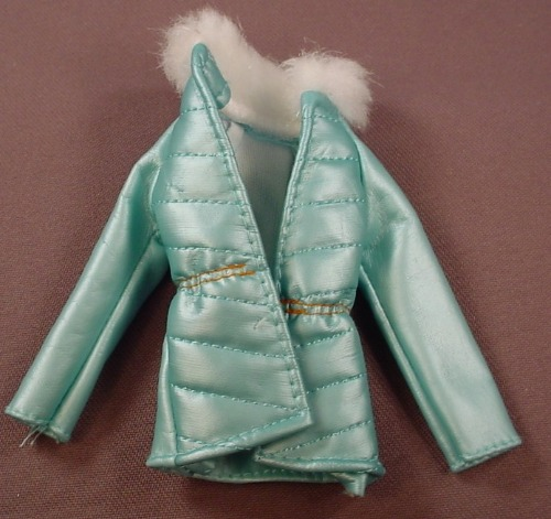 Barbie Aqua Blue Faux Leather Coat With Faux Fur Collar, Mattel, Has The Pink B Tag