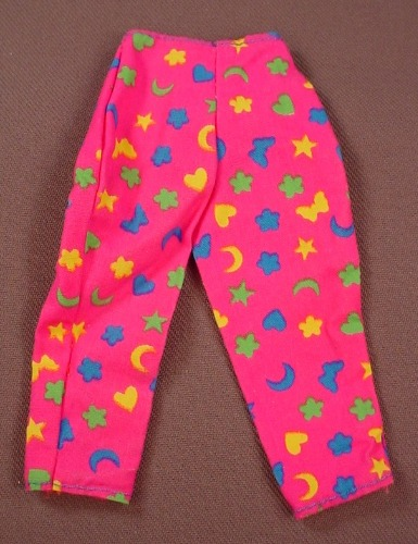 Barbie Hot Pink Pants Or Pajamas Bottoms With Stars Hearts & Moon Print, Mattel, Has The Pink B Tag