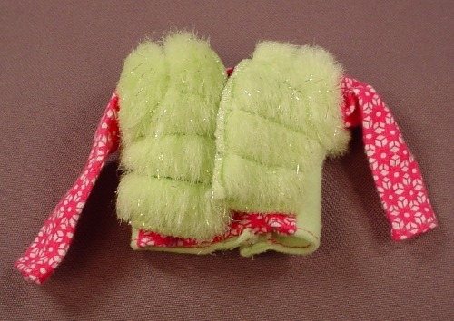 Barbie Faux Fur Glittery Neon Green Vest Over A Long Sleeved Shirt, Mattel, Has The Pink B Tag