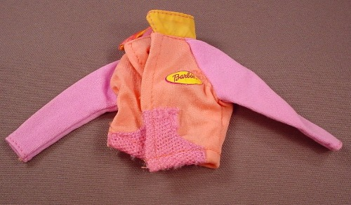 Barbie Peach & Pink Jacket With A Yellow Barbie Name Tag, Mattel, Has The Pink B Tag