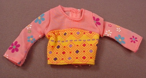 Barbie Pink Long Sleeve Shirt With A Flower Print, Mattel, Has The Pink B Tag
