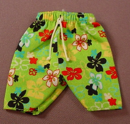 Barbie Ken Silky Green Pair Of Shorts Or Swim Trunks With A Flower Print, Has The Pink B Tag, Mattel